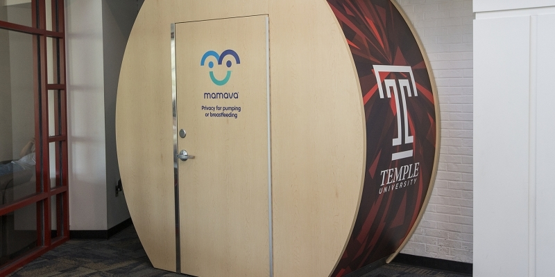 "The new lactation suite in the Student Center, emblazoned with the Temple ""T."""