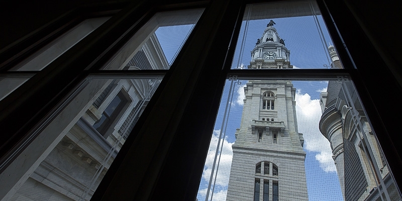 City Hall tower from an office window.