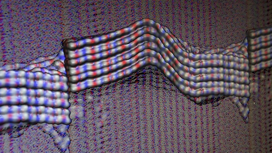 A screenshot of a molecular-dynamics simulation of Kevlar®.