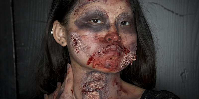A female student in zombie makeup