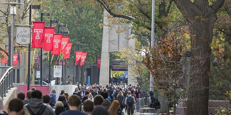 A crowd of students walking  on Polett Walk towards the Bell Tower.