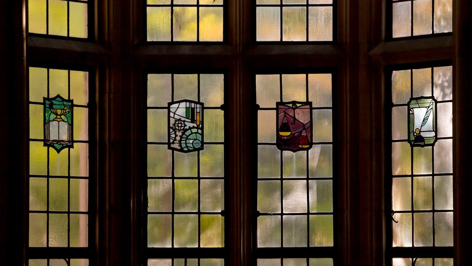 stained glass windows in a building on Temple's campus