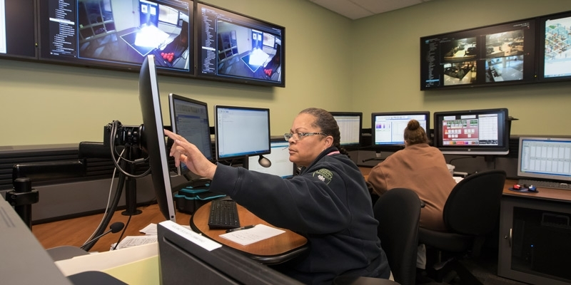 A woman working in the new dispatch center.