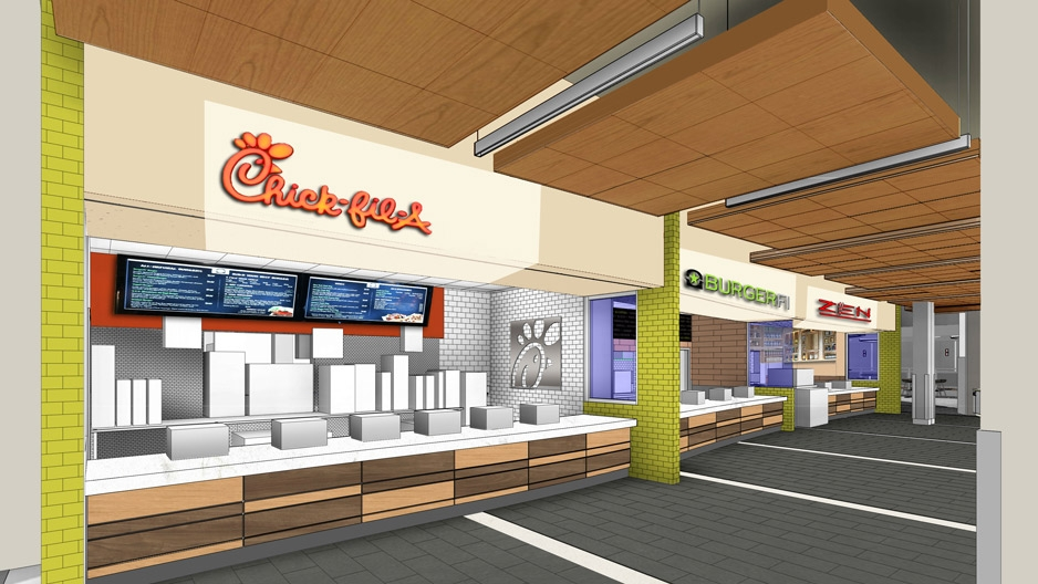 a rendering showing what the new student center food court will look like.