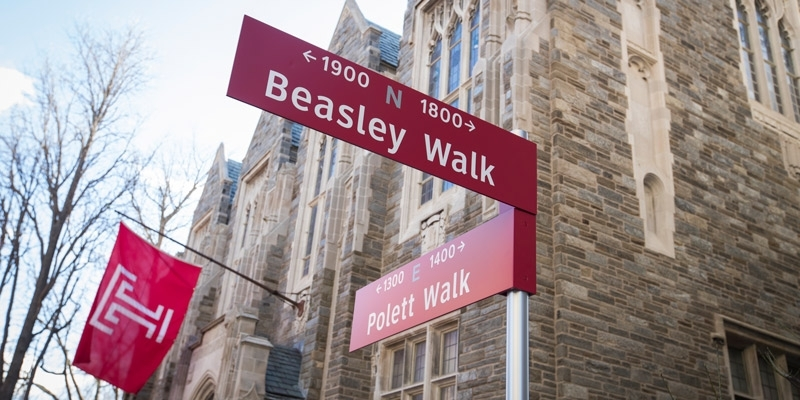 new signs marking Pollett Walk and Beasley Walk on Temple's campus