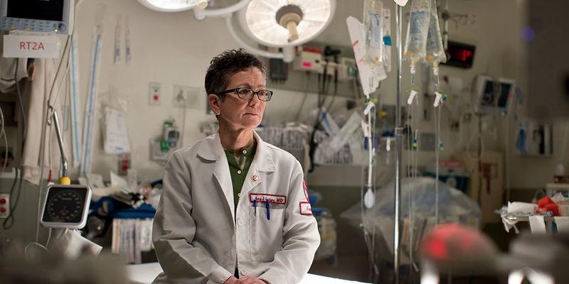 Amy Goldberg sitting in a hospital room
