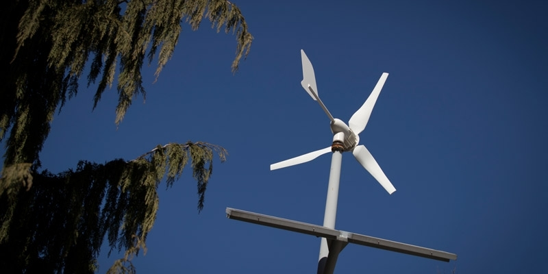 A wind turbine on Temple's Main Campus.