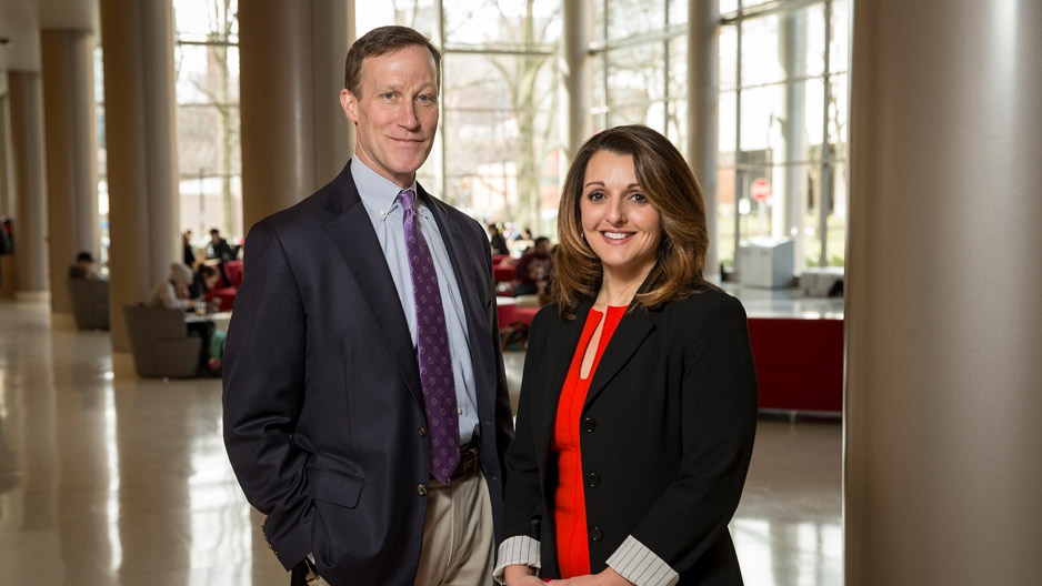 James Dicker and Emily Spitale in Temple's Science Education and Research Center
