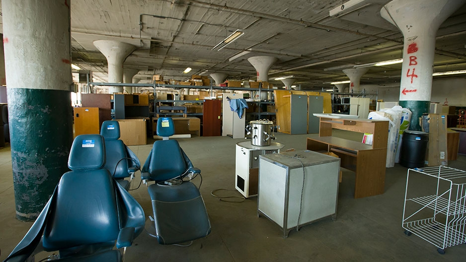 items in Temple's surplus property storage area