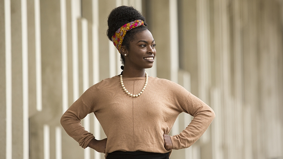 Nahla Ward standing and smiling on Temple's campus