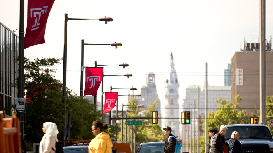 view down broad street toward City Hall from Temple