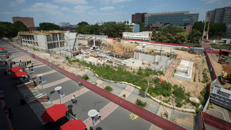 Aerial look at the construction site of Temple's new library