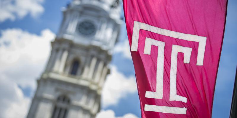 The Temple flag flies in Philadelphia.