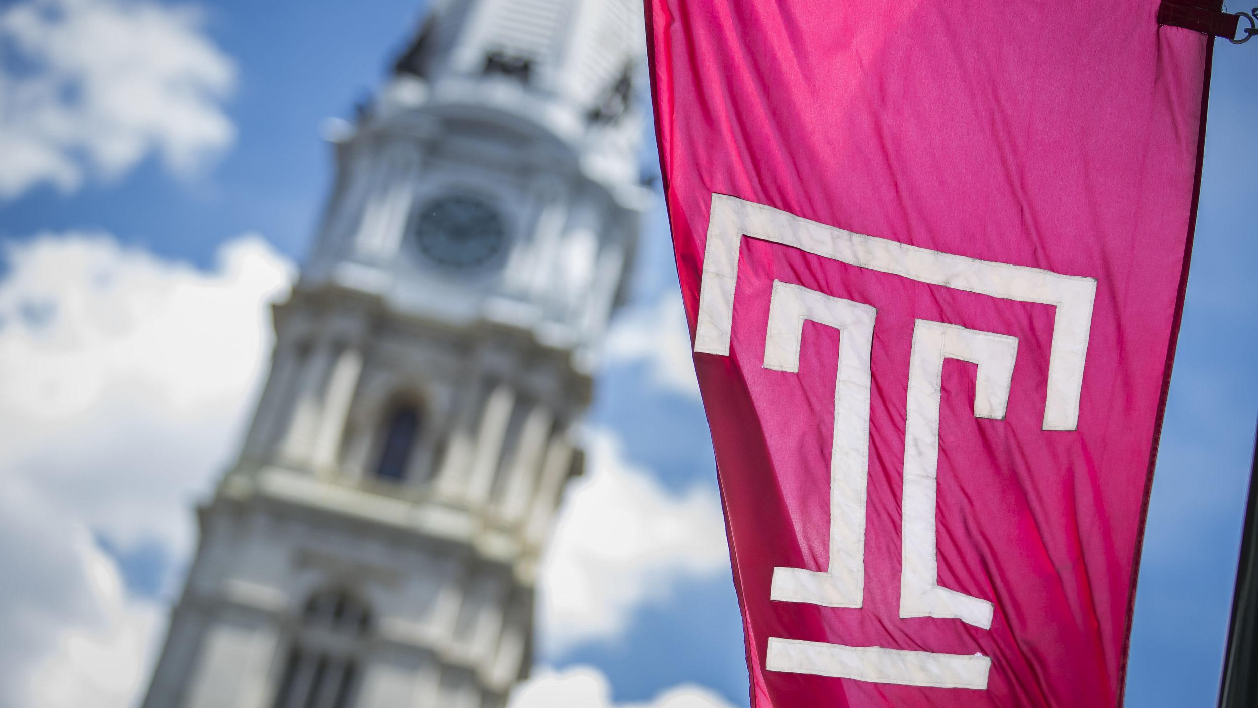 The Temple flag flies in Philadelphia