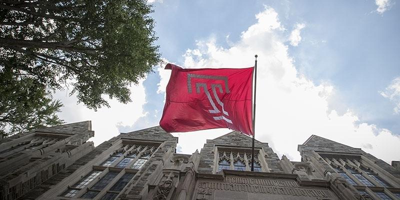 A Temple flag at Sullivan Hall.