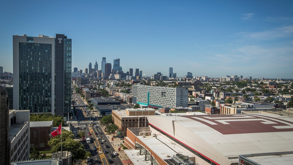 a bird's-eye view of Temple University's Main Campus
