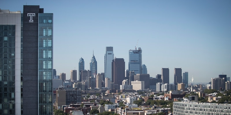 A view of Center City Philadelphia with Temple's Morgan Hall in the foreground