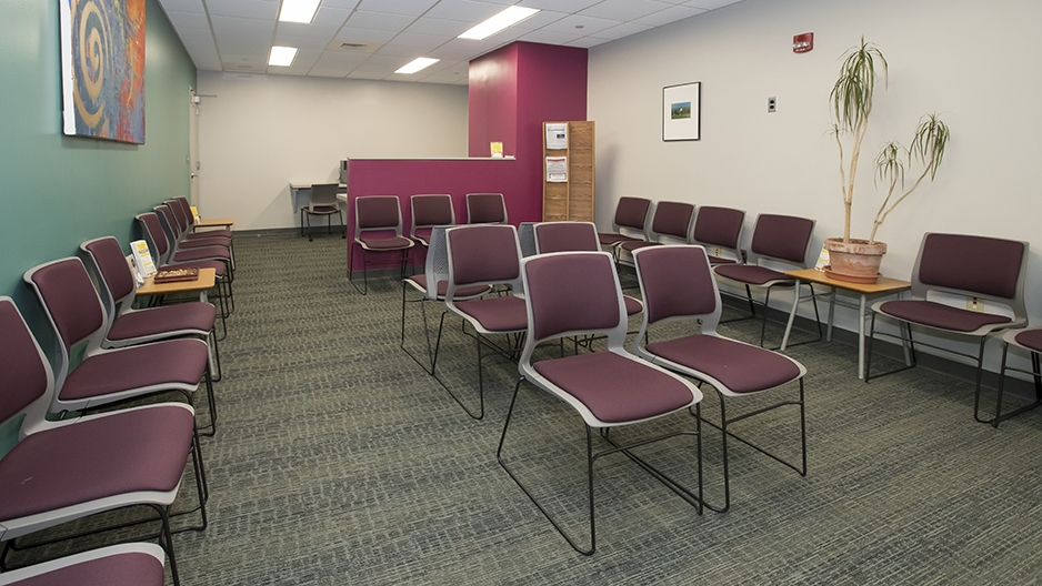 Chairs filling the lobby of the new Tuttleman Counseling space