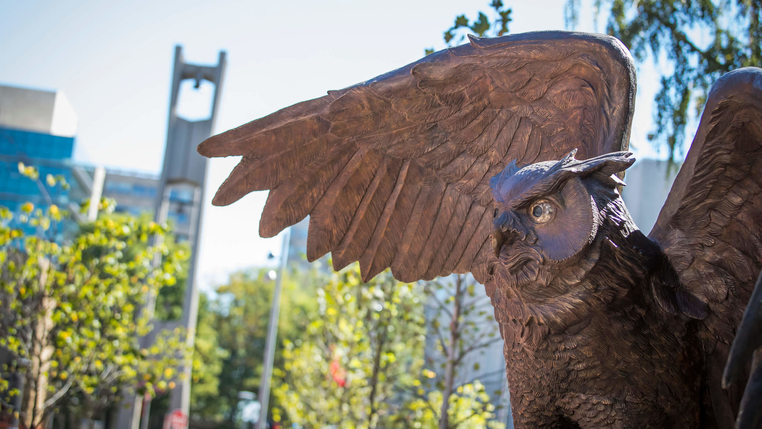 An Owl statue spreads its wings on Temple's Main Campus.