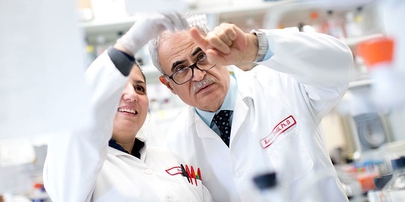 Kamel Khalili and researcher in lab