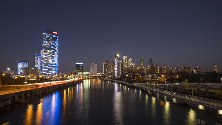 The Philadelphia skyline at night.