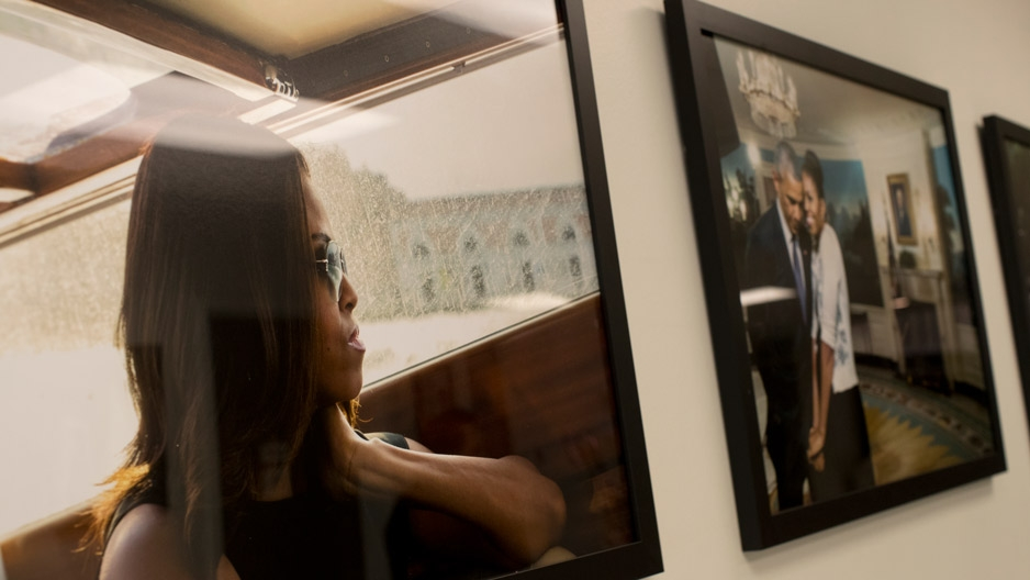 Photos of Michelle Obama on display at Paley Library