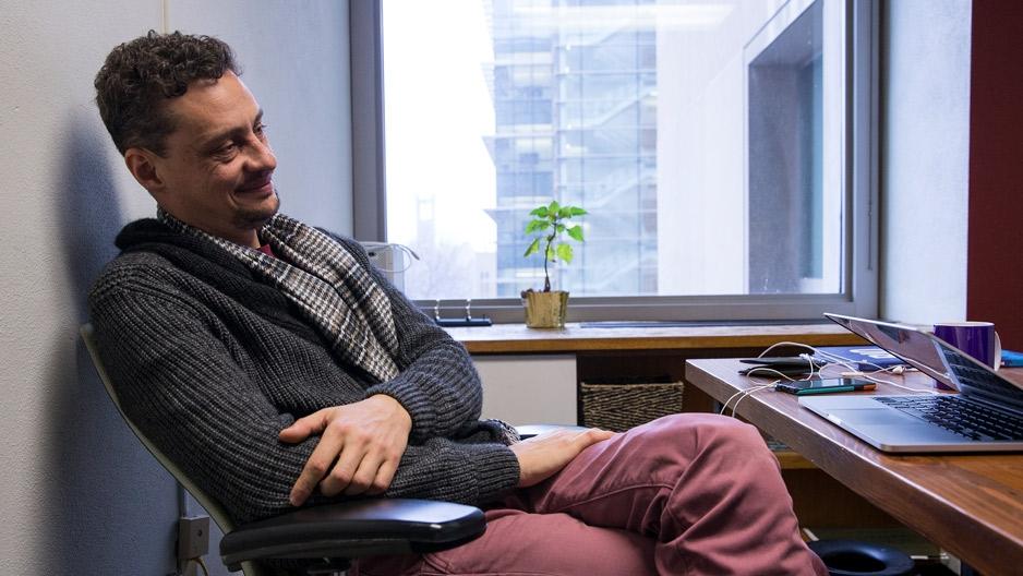 Victor Gutierrez-Velez sitting at his desk