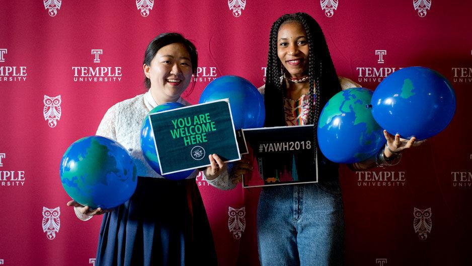 Students posing at Global Gala