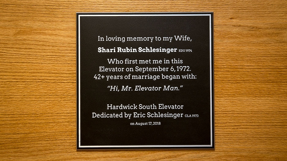 Shari Schlesinger memorial plaque in Hardwick Hall