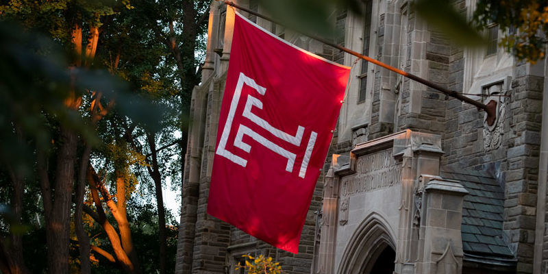 Temple flag outside Sullivan Hall