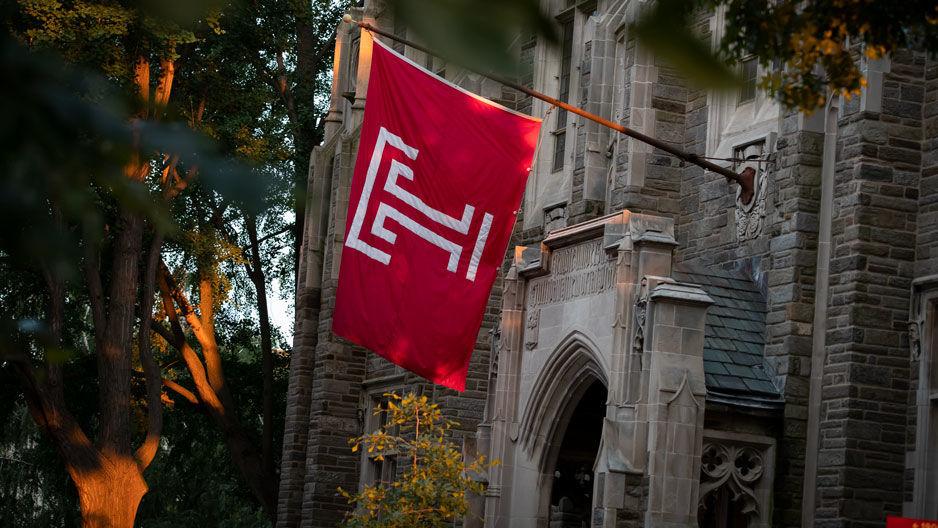 A Temple University flag outside Sullivan Hall.