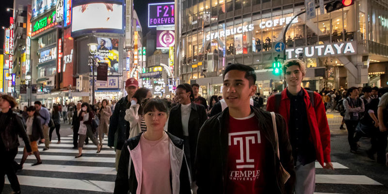 Temple students walking in Tokyo