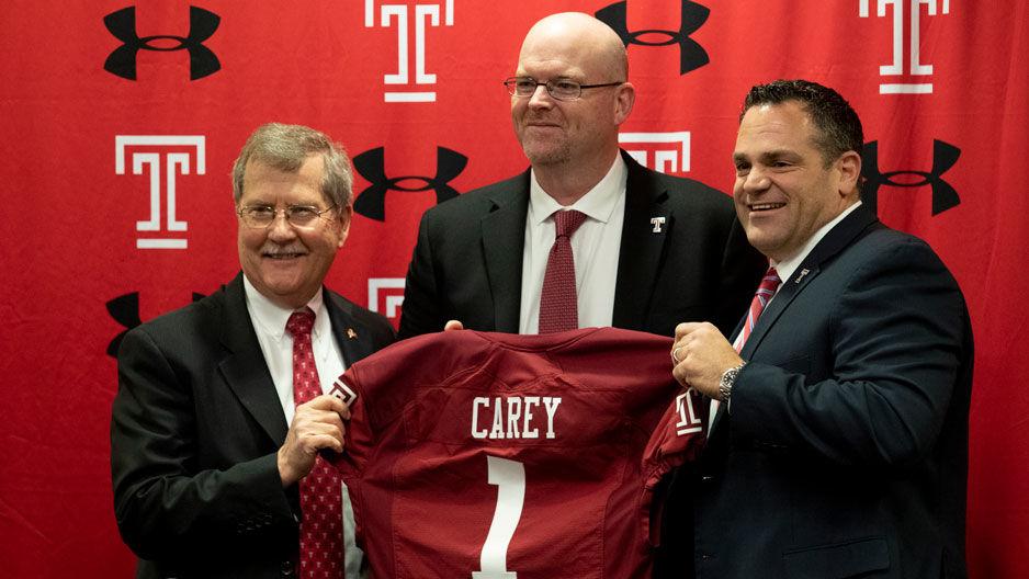 Rod Carey with President Richard Englert and Director of Athletics Pat Kraft