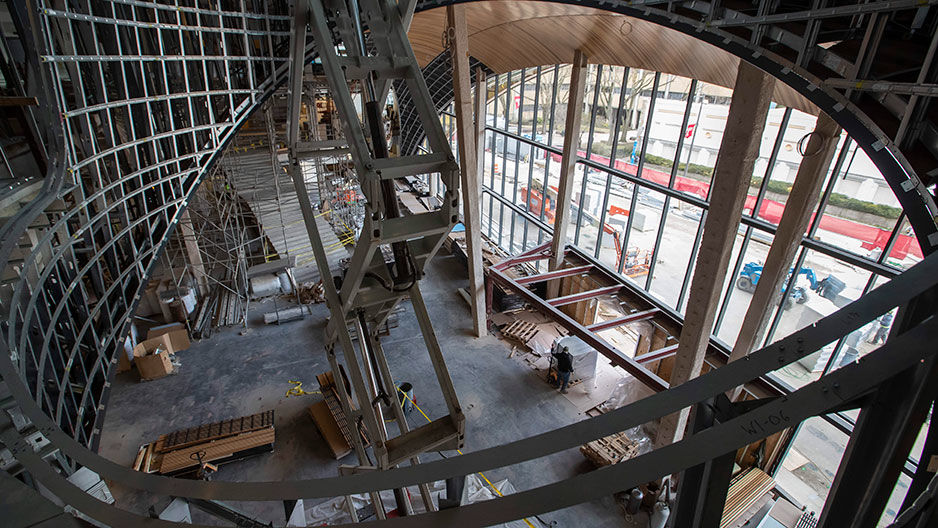 construction site of Charles Library, interior