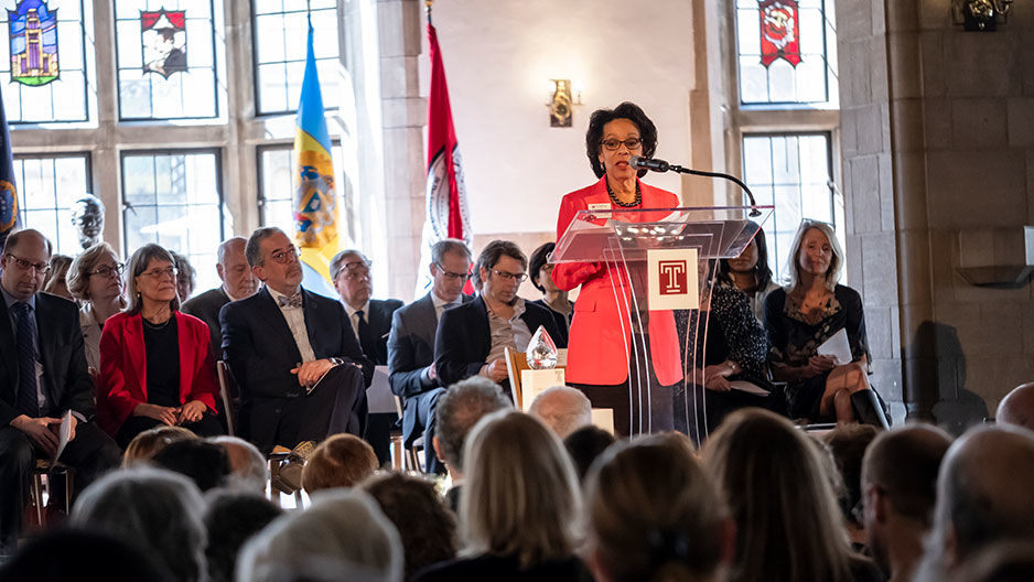 Provost JoAnne A. Epps at a podium