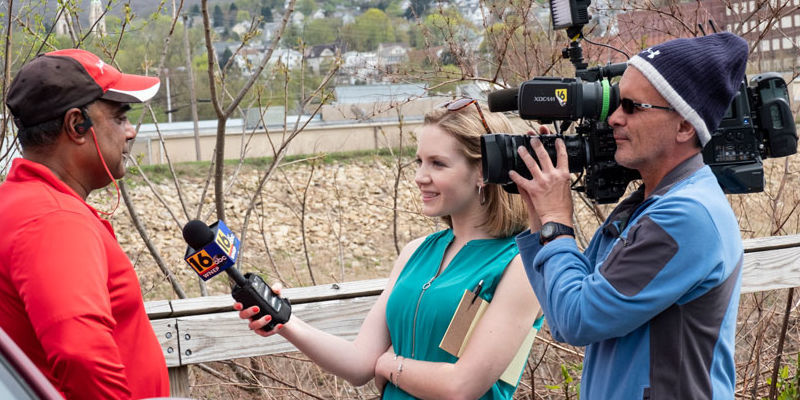 Reporter Cassie Semyon on the job in Scranton/Wilkes-Barre