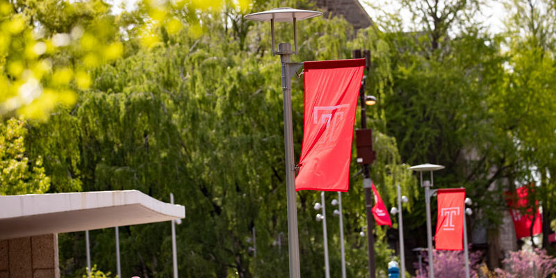 T flags on Main Campus
