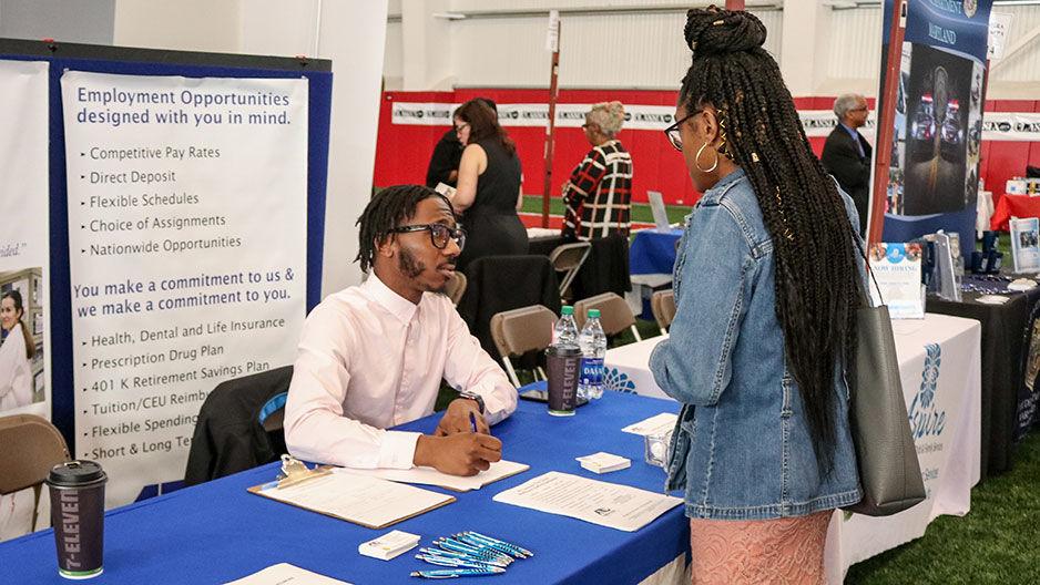 employer table at job fair