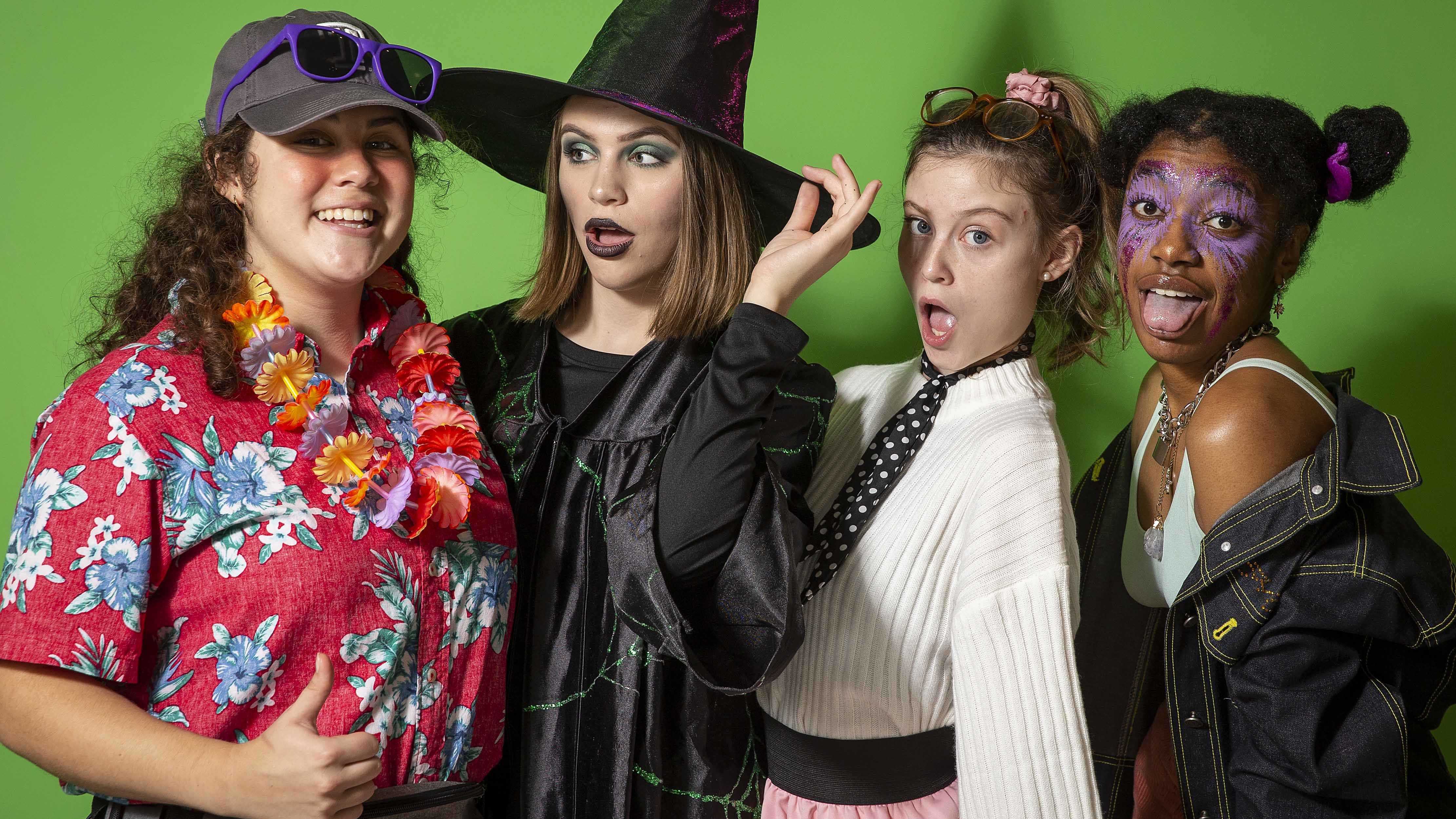 students dressed in costume for Halloween