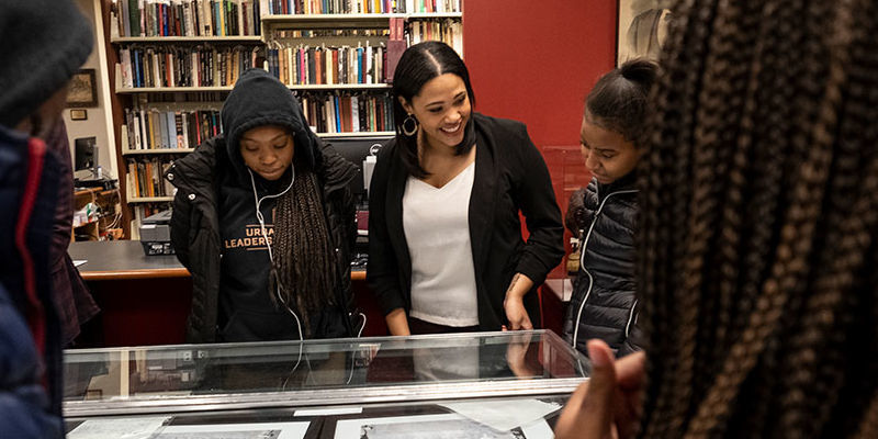 Students and program coordinator visit the Blockson Collection