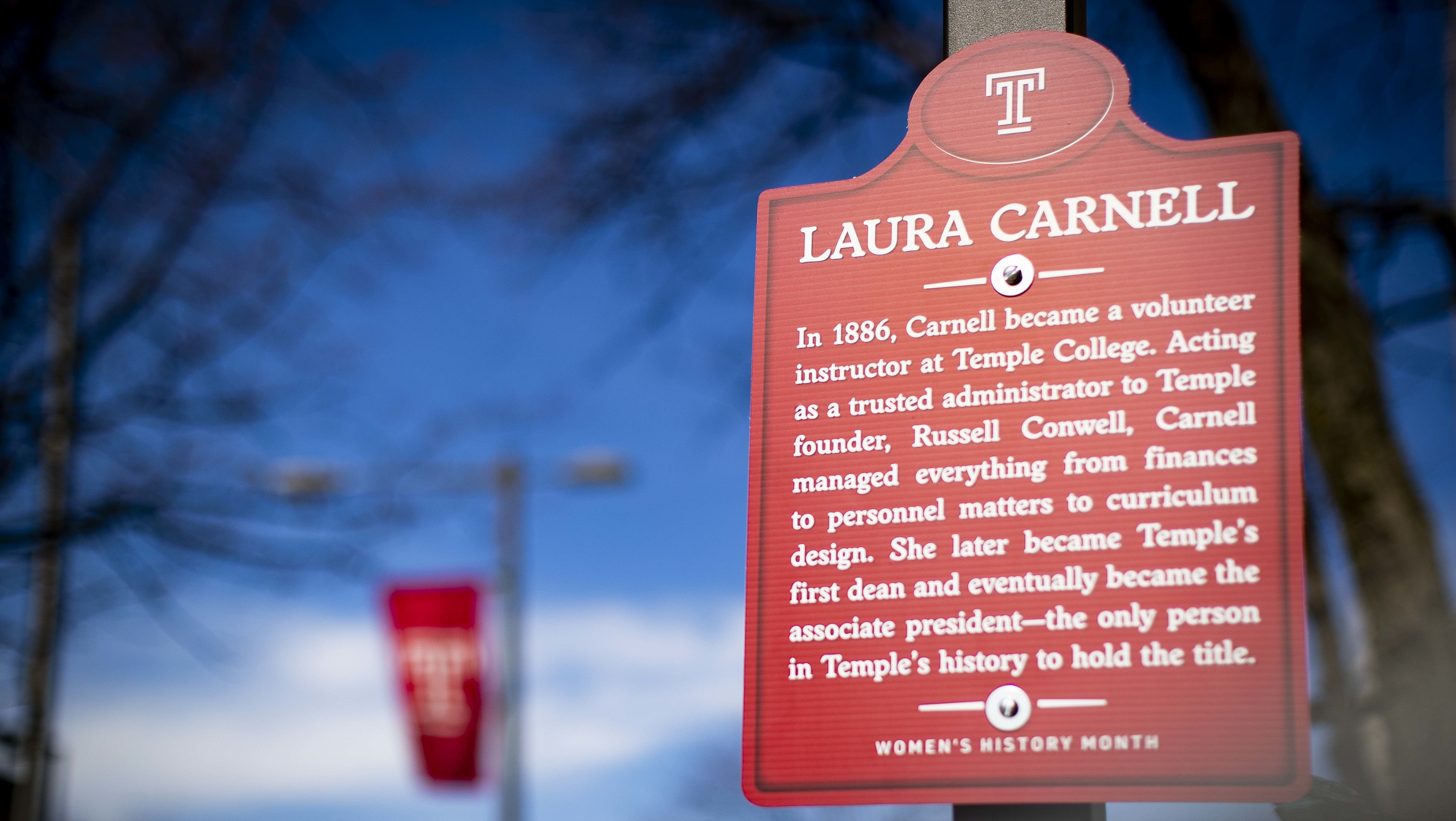 One of the historic markers installed on campus in honor of Women's History Month.