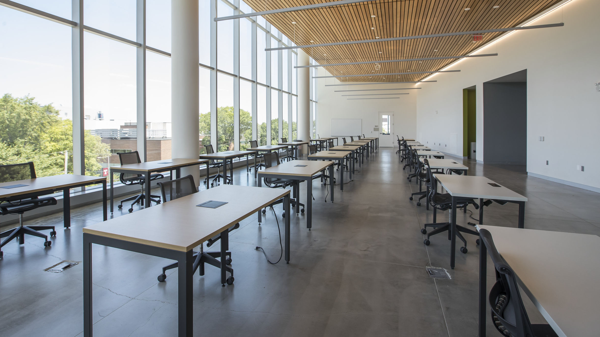 A classroom in Charles Library set up for physically distanced learning