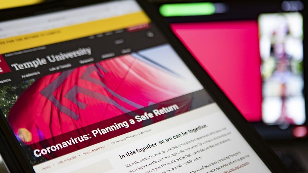 A tablet device on Temple's return to campus website.