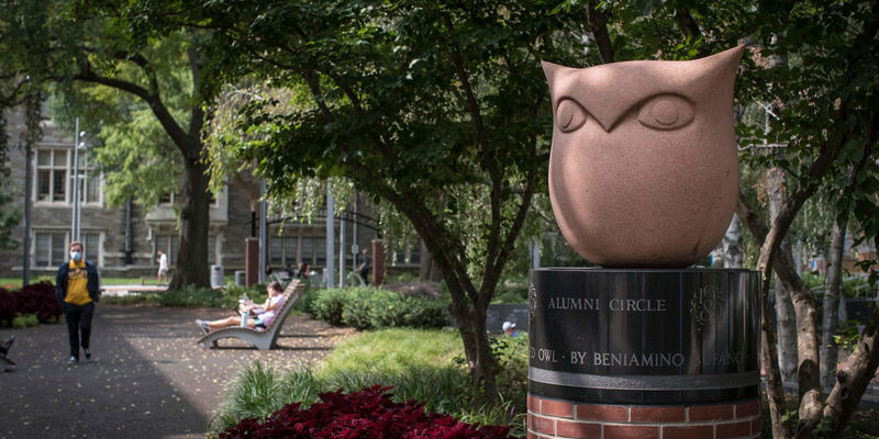 An Owl sculpture on Main Campus.