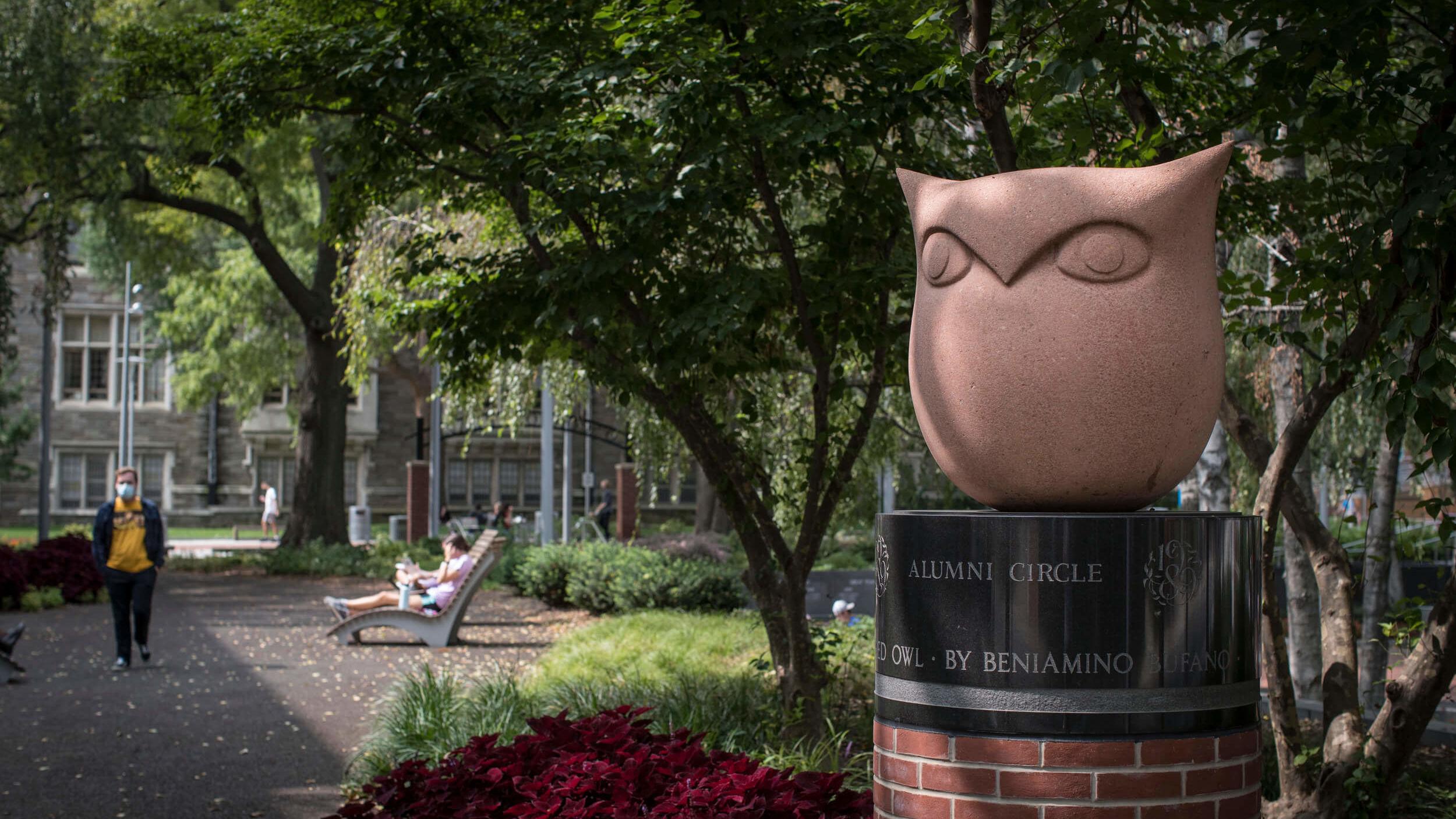 An Owl sculpture on Main Campus.
