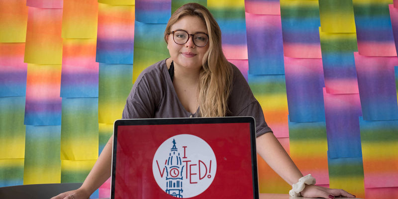 "Tyler student Katie Fish designed the ""I Voted"" sticker for Philadelphia."