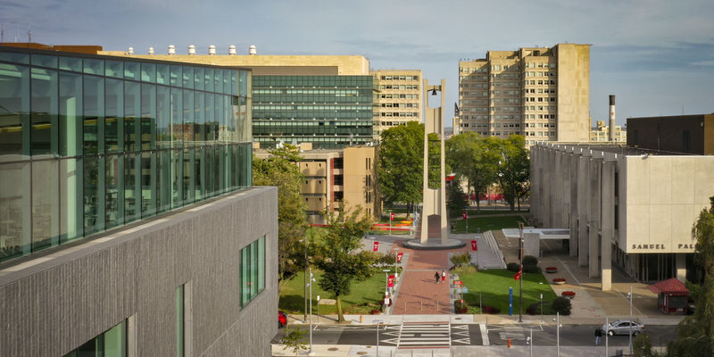 Drone shot of Temple University's Main Campus