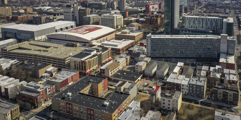 Image of aerial overview of North Central Philadelphia neighborhoods.