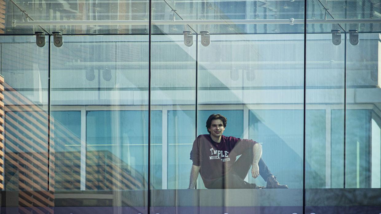 William Hornby viewed through a glass window