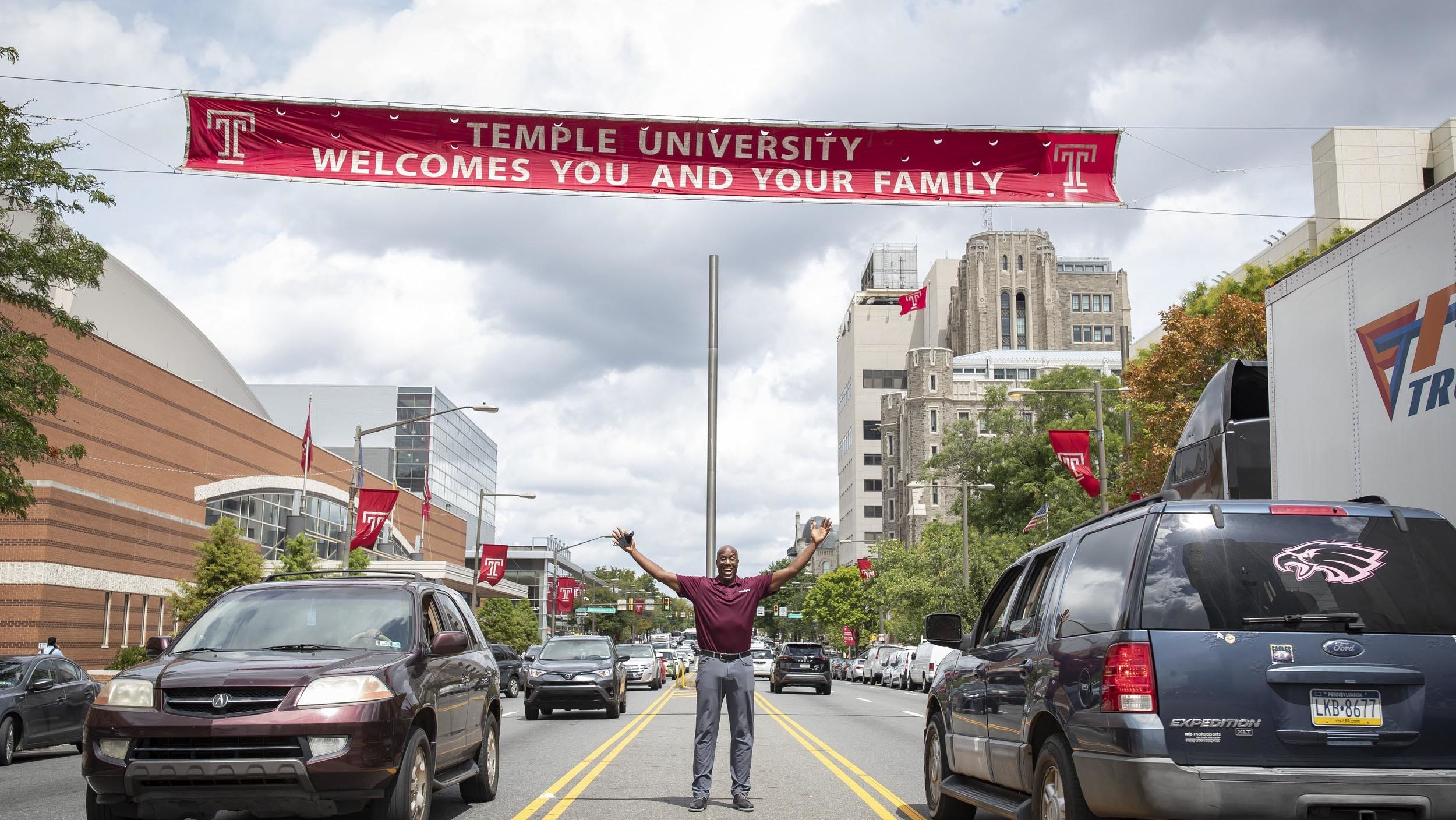 President Wingard with open arms on Broad Street